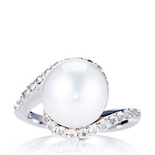 Honora 11.5-12mm Cultured Pearl & White Topaz Wave Ring Sterling Silver