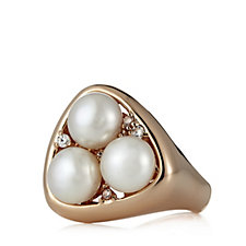 Honora 8mm Cultured Button Pearl & Crystal Ring Bronze