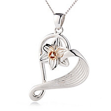 Clogau Daffodil 9ct Rose Gold & Sterling Silver Diamond Accent 55cm Necklace