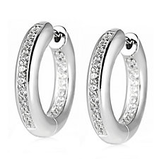 Platinum Plated Diamonique 0.6ct tw Hoop Earrings Sterling Silver