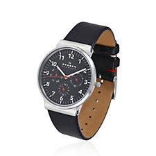 Skagen Gents Quartz Multifunction Leather Strap Watch