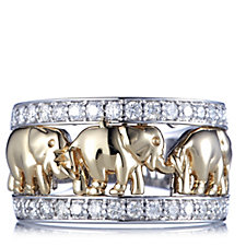 Diamonds by Tova 0.6ct Diamond Elephant Band Ring 14ct Gold