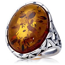 Amber Butterfly Gallery Oval Ring Sterling Silver