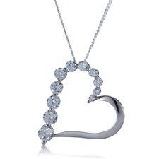 Diamonique 1.6ct tw Heart Pendant & 45cm Chain Sterling Silver