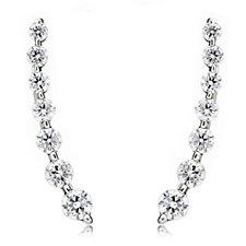 Diamonique 1.2ct tw 7 Stone Earclimber Earrings Sterling Silver