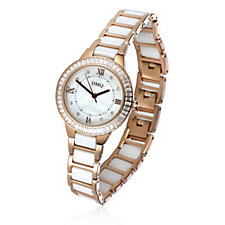 Diamonique 1.50ct tw Mother of Pearl Watch