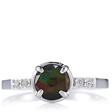 Canadian Ammolite Triplet & White Sapphire Shoulder Ring Sterling Silver