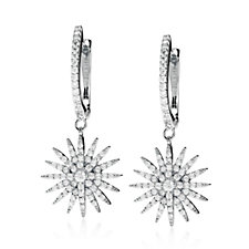 Diamonique Couture 1ct tw Starburst Earrings Sterling Silver