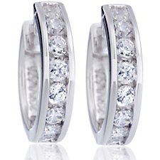 Epiphany Platinum Clad Diamonique 0.64ct tw Hoop Earrings Sterling Silver