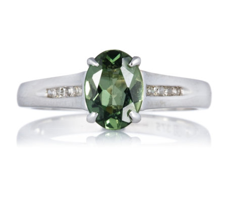 1ct Madagascan Olive Apatite Diamond Accent Ring 9ct White Gold
