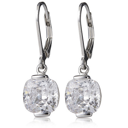 diamonique 7ct tw drop earrings sterling silver 604009