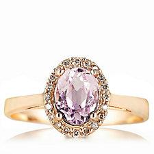 1.5ct Galileia Kunzite & Diamond Cluster Ring 9ct Rose Gold