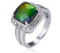 Canadian Ammolite Triplet Octagon Cut Ring Sterling Silver - 626309