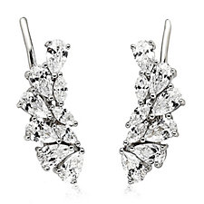 Diamonique by Andrea McLean 3.6ct tw Earclimbers Sterling Silver