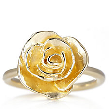 Veronese Glamour 18ct Gold Plated Flower Ring Sterling Silver