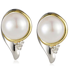 Honora 6.5mm Cultured Button Pearl Diamond Stud Earrings Sterling Silver