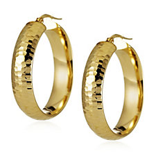 Veronese Diamond Cut Hoop Creole Earrings Sterling Silver