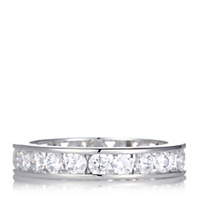 Diamonique 2.2ct tw Round Cut Full Eternity Channel Set Ring Sterling Silver