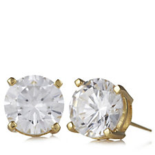 Diamonique 5.9ct tw Earrings & Festive Tree Box Gold Vermeil Sterling Silver