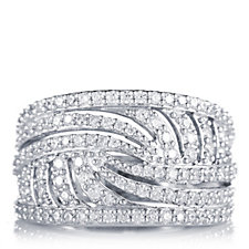 Diamonique 1.2ct tw Wave Effect Pave Band Ring Sterling Silver