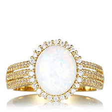 Diamonique 0.5ct tw Oval Opal Halo 3 Row Band Ring Sterling Silver