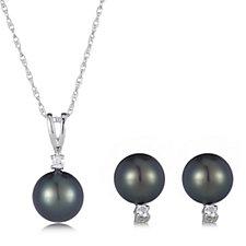 9-10mm Cultured Tahitian Pearl Earrings, Pendant & 45cm Chain Sterling Silver