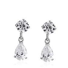 Diamonique 2.5ct tw Pear Drop Earrings Sterling Silver