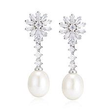 Diamonique 1.5ct tw CFW Alison Wedding Earrings Sterling Silver