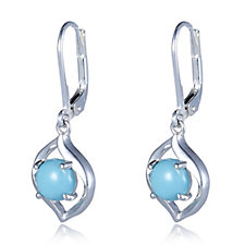 664312 - Sleeping Beauty Turquoise Sculptural Drop Earrings Sterling Silver