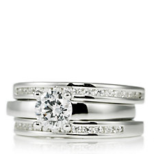Diamonique 1.2ct tw Set of 3 Solitaire Rings Sterling Silver