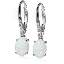 Diamonique 0.08ct tw Oval Opal Drop Leverback Earrings Sterling Silver
