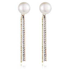 Honora 10-11mm Cultured Pearl Bead Chain Drop Earrings Sterling Silver