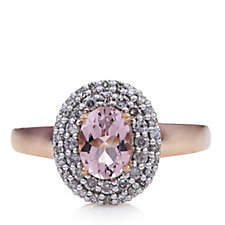 0.8ct Morganite Premier Oval Ring with Diamond Accent 9ct Rose Gold