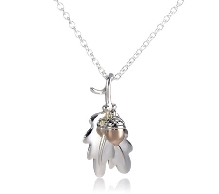 Clogau Silver and 9ct Gold Oak Leaf Pendant with 46cm Chain