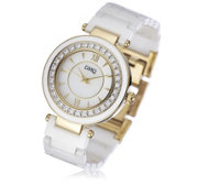 Diamonique 0.6ct tw Crystal Bezel Ceramic Watch with Gold Plating