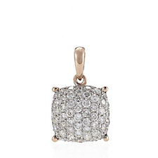 633113 - Pave 0.6ct Diamond Cushion Cut Pendant 18ct Rose Gold