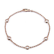 Diamonique 1.25ct tw 5 Stone 18cm Bracelet Rose Gold Vermeil Sterling Silver