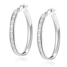 BluOro Baguette Glitter Hoop Earrings Sterling Silver