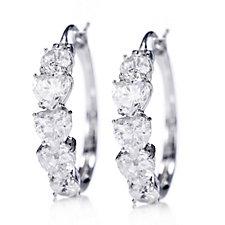 698813 - Michelle Mone for Diamonique 3.6ct tw Heart Huggie Earrings Sterling Silver