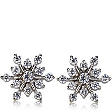 Diamonique 0.4ct tw Snowflake Stud Earrings Sterling Silver