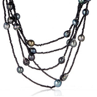 9-11mm Tahitian Pearl & Black Spinel 40cm Necklace