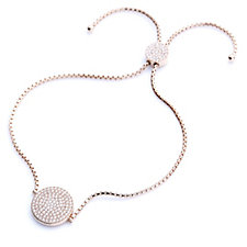 Diamonique 0.6ct tw Pave Disc Friendship Bracelet Sterling Silver