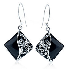 Stuarti Collection Black Agate Earrings Sterling Silver