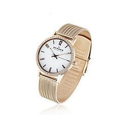 Skagen Ladies Crystal Bezel & Pearl Dial Watch