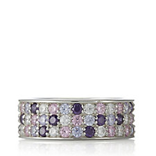 Diamonique 2.8ct tw Simulated Gemstone Band Ring Sterling Silver