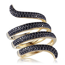 Lisa Snowdon Black Spinal Snake Ring Gold Vermeil Sterling Silver