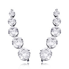 Diamonique 4.9ct tw Large Round Cut Ear Climbers Sterling Silver