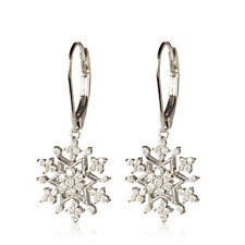 Diamonique 0.7ct tw Snowflake Drop Earrings Sterling Silver