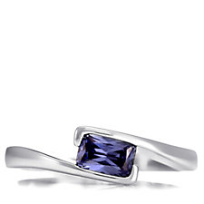 Diamonique 0.5ct tw Simulated Tanzanite East West Ring Sterling Silver