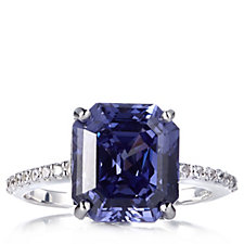 Diamonique 4.2ct tw Sim Benitoite Radiant Asscher Cut Ring Sterling Silver